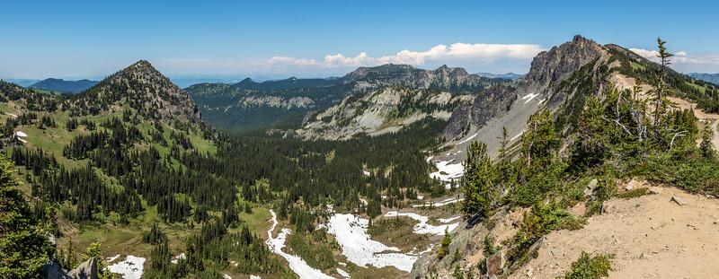 View into Huckleberry Basin and Prospector Creek, Sourdough Mountains. Sunrise, Mount Rainier National Park