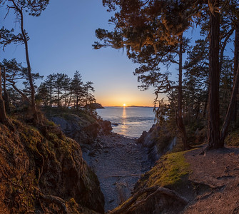 A sunset over the ocean viewed for a forested cove with tress on both sides of the