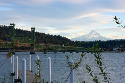 The Hood River Bridge with Mt Hood in the background