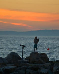 Watching the sunset from Edmonds waterfront park.