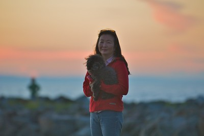 Sheri and Bolo enjoying the sunset at Edmonds waterfront park.