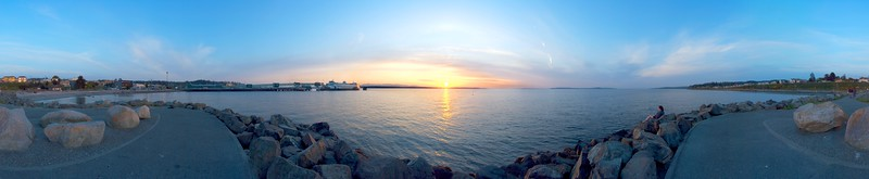 360° panorama of Edmonds Waterfront Park at sunset, Edmonds, Washington, USA