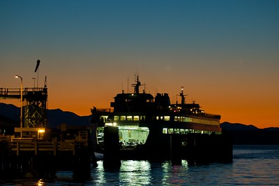 Cross-sound ferry at Edmonds-Kingston ferry at sunset