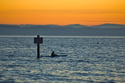 kayaking on Puget Sound at sunset
