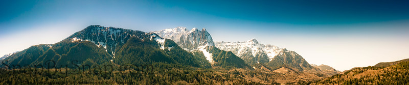 Aerial panorama image by drone of the Cascade mountains