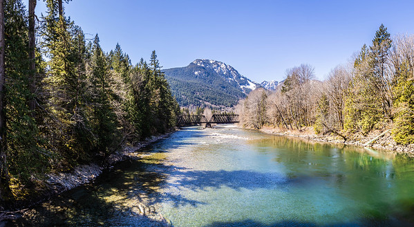 A bridge over the South Fork Skykomish River in Washing State