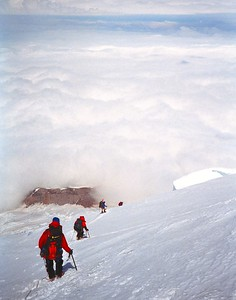 Decending from Mt. Rainier into the clouds