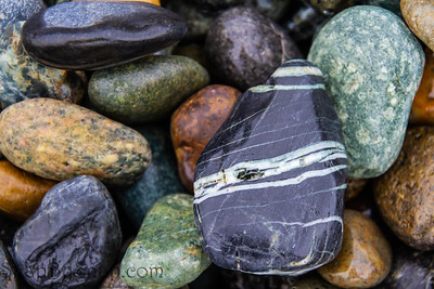 Colorful smooth rocks on the beach
