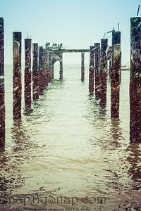 Rows of an old pier's pilings going out into the ocean during a snowstorm