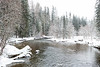 Creek in snowstorm