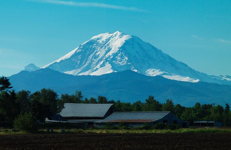 Mount Rainier and farm