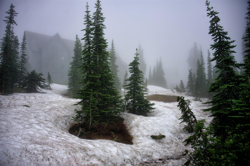 Mt Ranier, Washington in the clouds and snow pack.