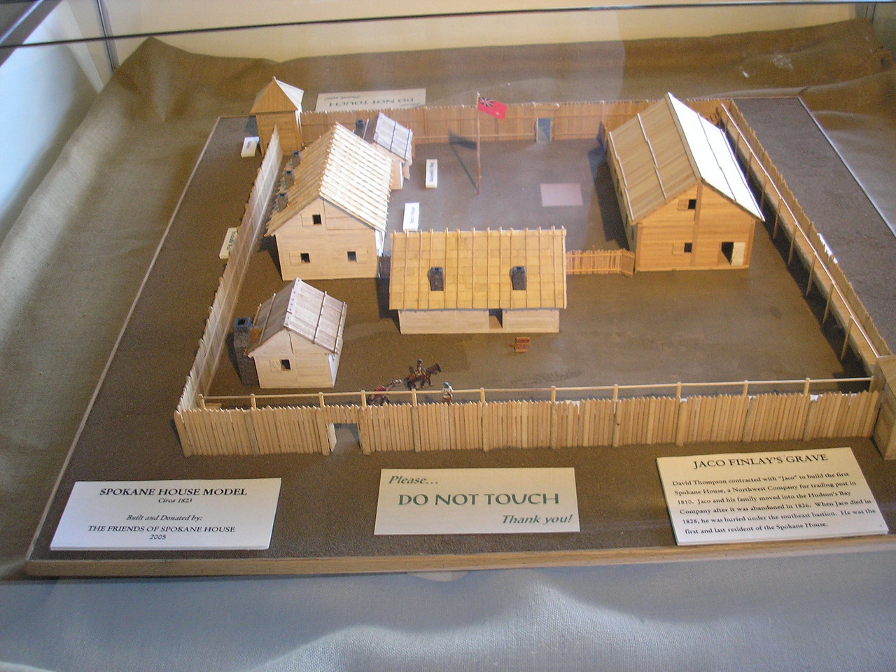 This is a display of what the spokane House looked like when it was under the Hudson Bay company.