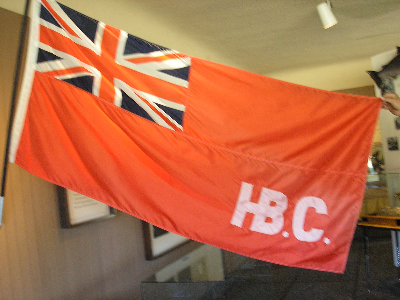 This is a photo from inside the Spokane House display.  Hudson Bay Company had rhis flag over the compound.  Located at the confluance of the Spokane and Little Spokane Rivers.