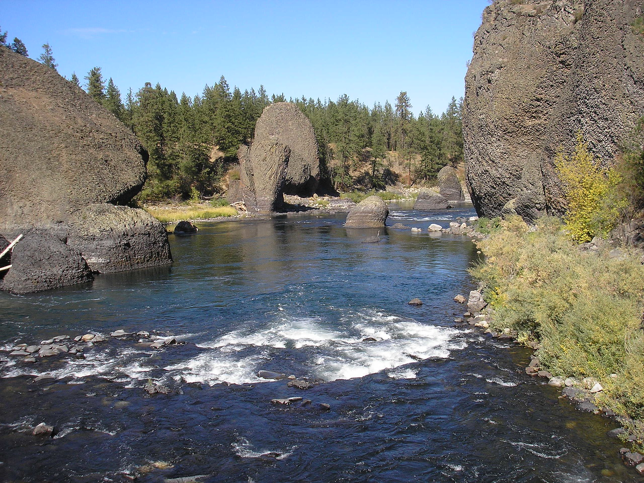 The Spokane River and several of the distinctive rock formations.