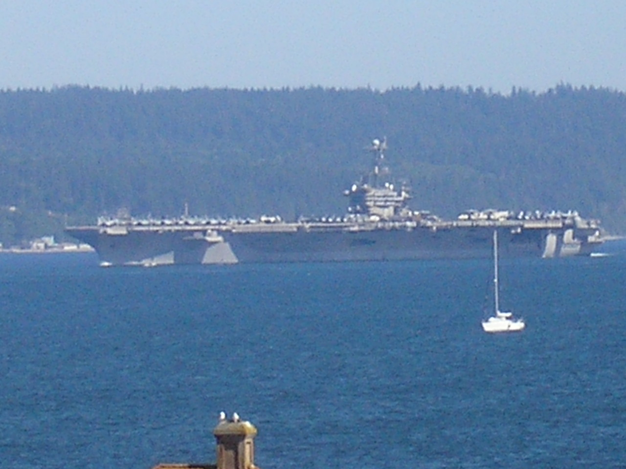 We saw aircraft carriers leaving Bremerton.