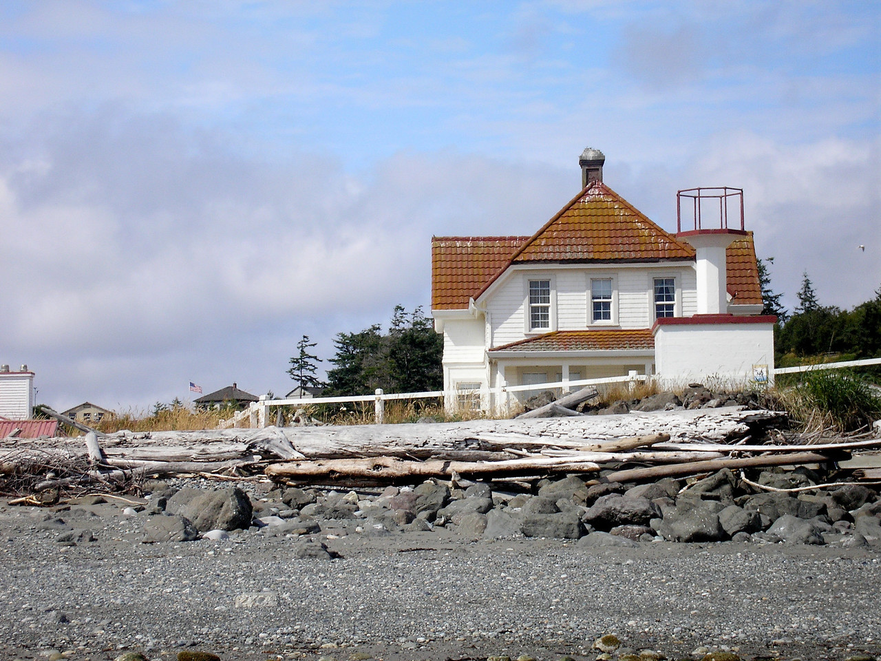 Marrowstone Point Light Keepers House.  The Light is the object on the right side of the photo.