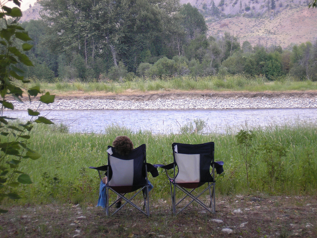 Sitting by the Methow River in Eastern Washington State