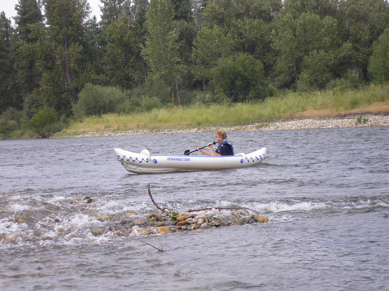 Jeanie in our Sea Eagle kayak on the Methow River in North Eastern Cascade Mountians