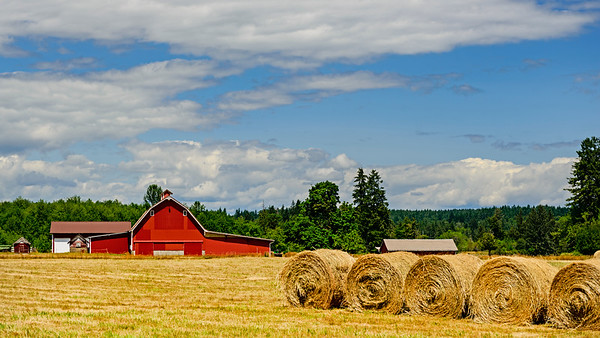 Barn with hay bales
