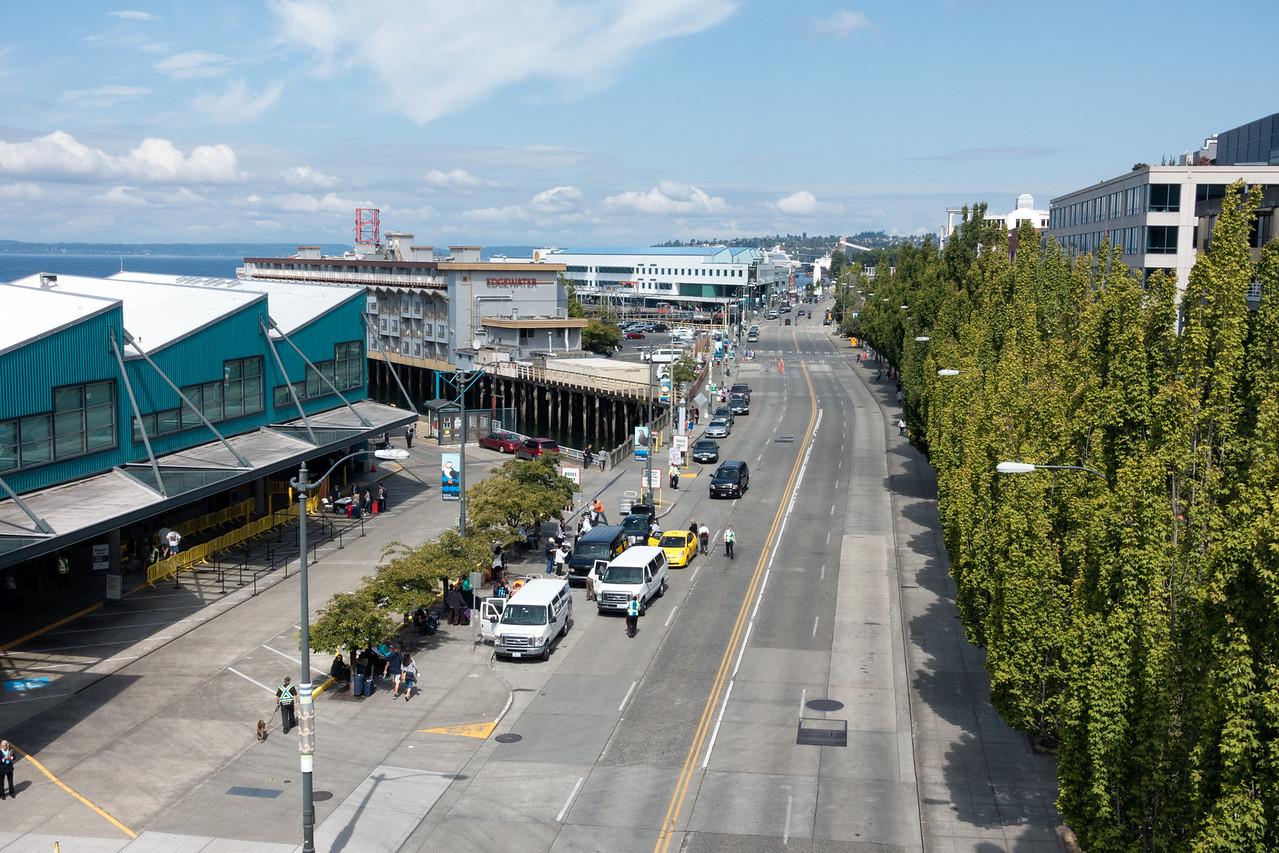 20160717.  View of Alaska Way on Seattle waterfront from Bell Street Pedestrian Bridge, Seattle WA.