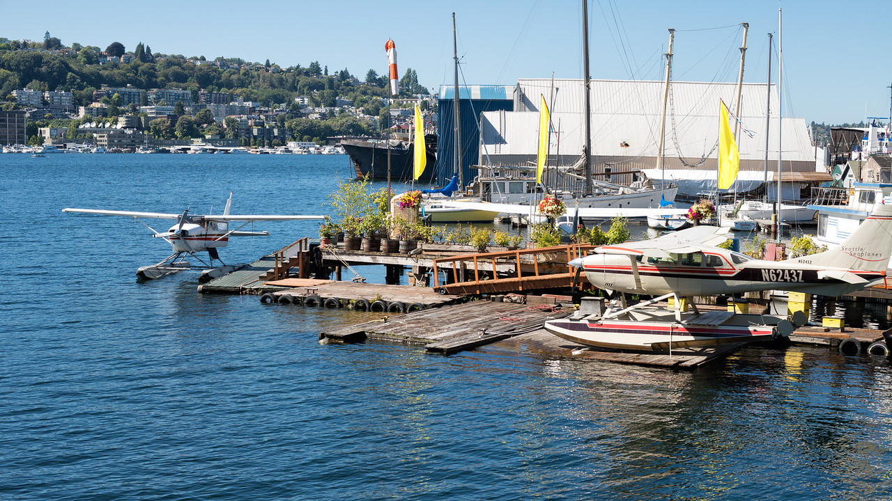 20160816. Seaplanes on Lake Union from Fairview Avenue North, Seattle WA.