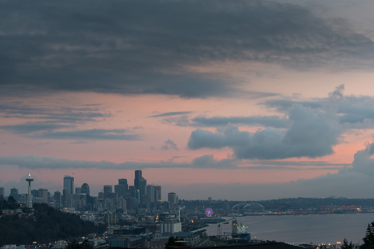 28 December 2013.  Seattle waterfront and Elliott Bay at sunset