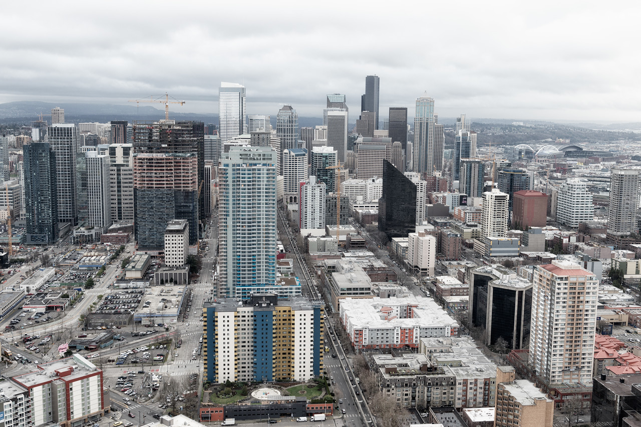 20141223.  View of downtown Seattle from the Space Needle, Seattle WA.