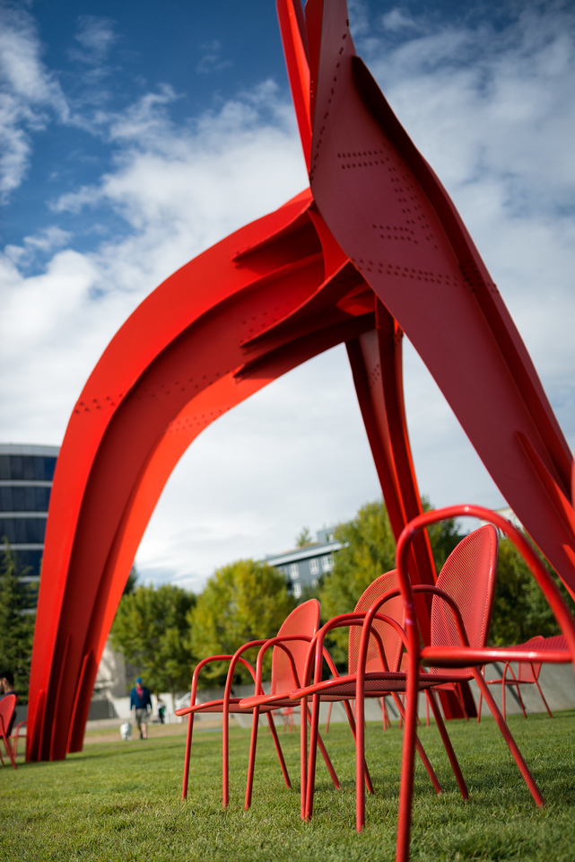 """20160807.  """"Eagle"""" sculpture by Alexander Calder in Olympic Sculpture Park, Seattle WA."""