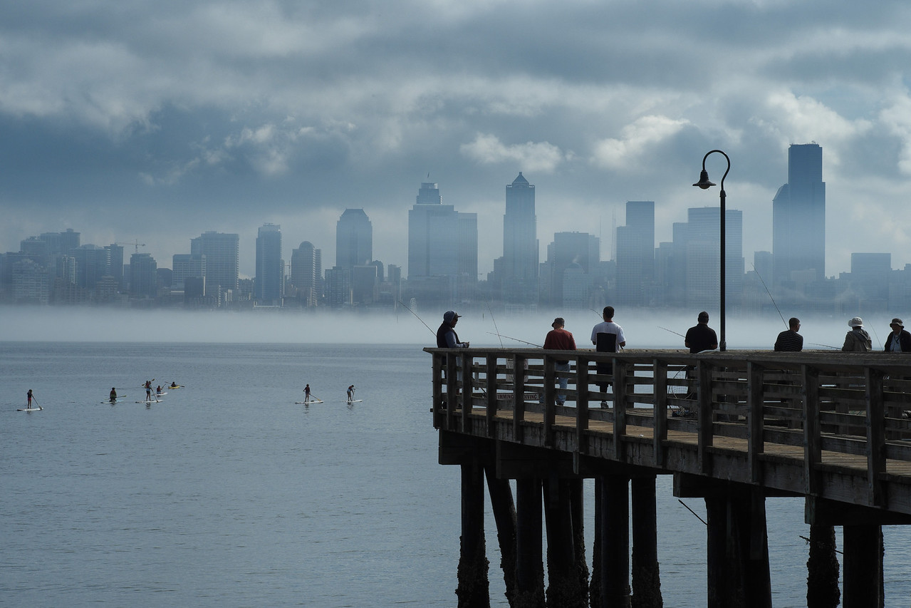 16 August 2013.  View from Seacrest Park Pier in West Seattle WA.