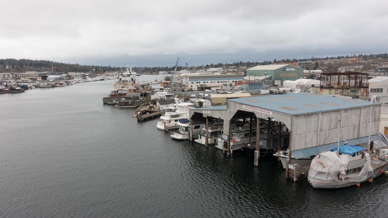 20151224.  View from Ballard Bridge of fishing boats on Lake Washington Ship Channel