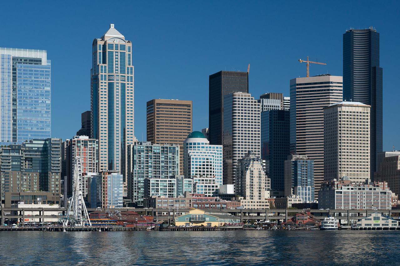 20160910.  Seattle skyline from ferry.