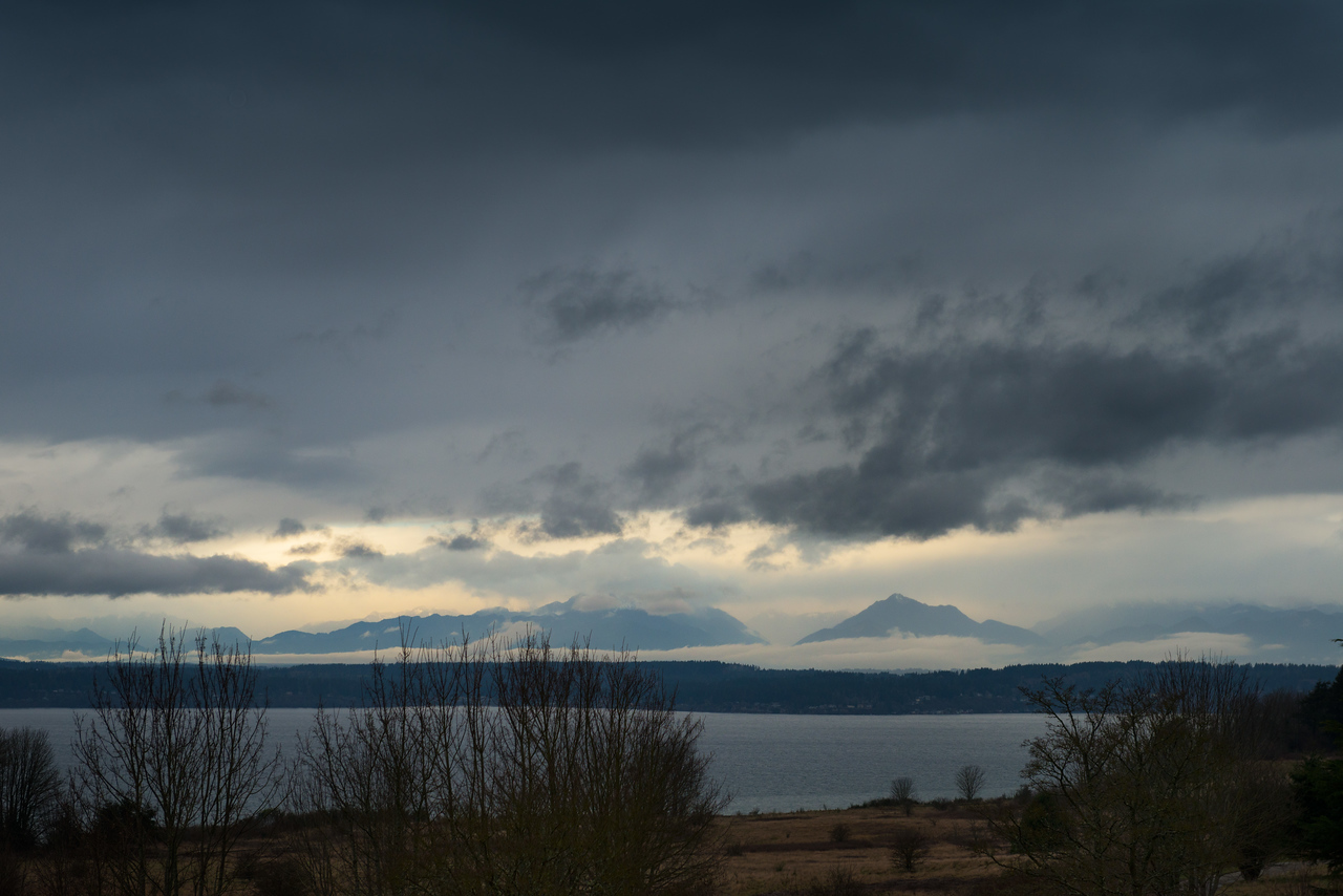 27 December 2013.  Olympic Mountains over Puget Sound from Discovery Park, Seattle.