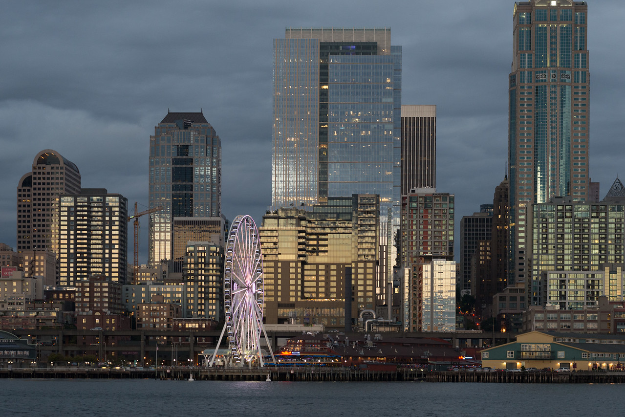 20160910.  Seattle skyline at sunset from ferry returning from Bainbridge Island, WA.