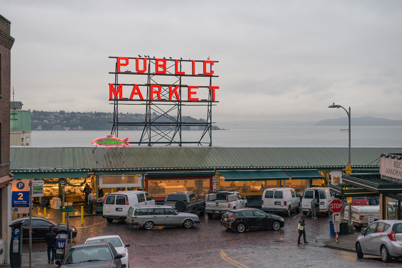 20141223. Public Market on Pike Place with Elliott Bay and West Seattle in background, Seattle WA.