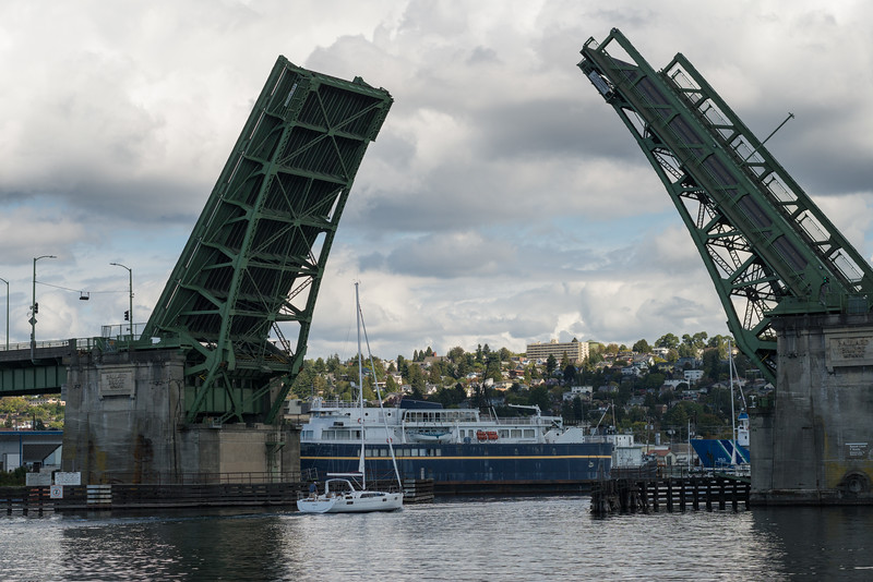 20160908.  Ballard Bridge from Fisherman's Terminal on Washington Ship Channel, Port of Seattle, Seattle WA.