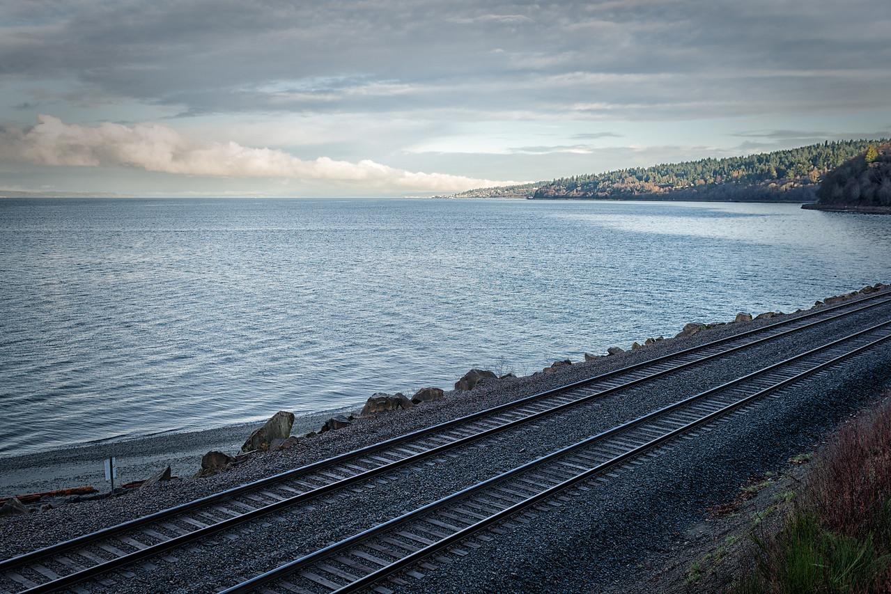 20151222.  Northward view over railroad tracks, Carkeek Park, Seattle WA.