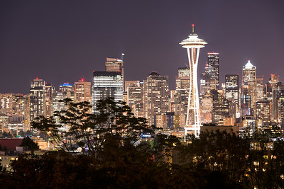 20160920.  View of downtown Seattle from Kerry Park in Queen Ann, Seattle WA.  The prominent tower is the Seattle Space Needle.