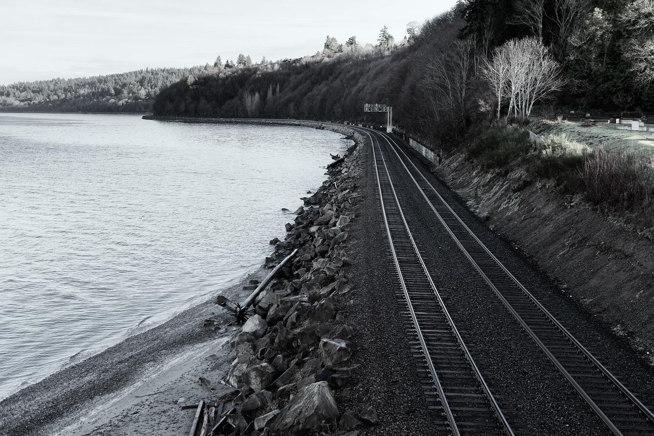 20151222.  Railroad tracks from pedestrian bridge, Carkeek Park, Seattle WA.