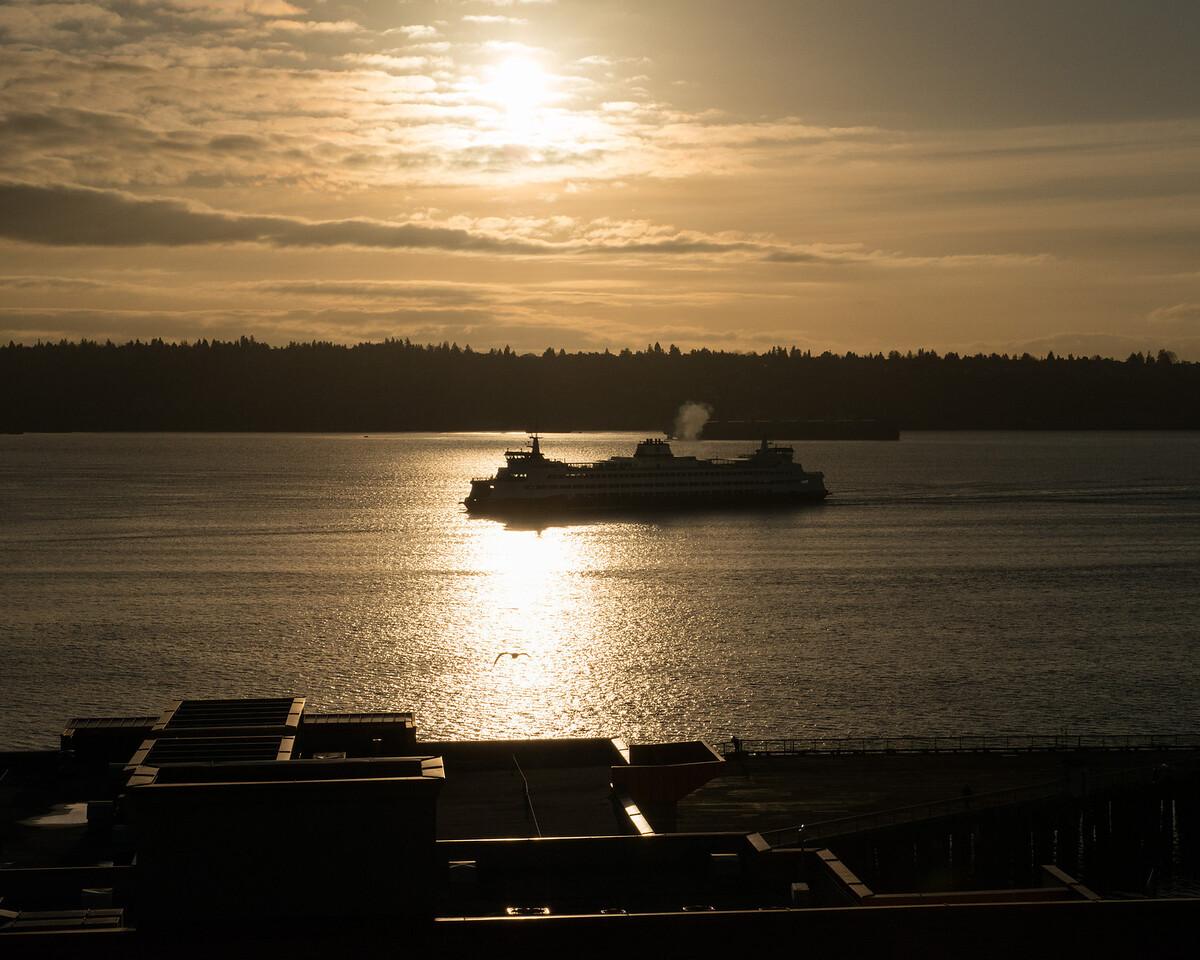 24 December 2013.  Ferry in Elliott Bay travelling to Seattle.