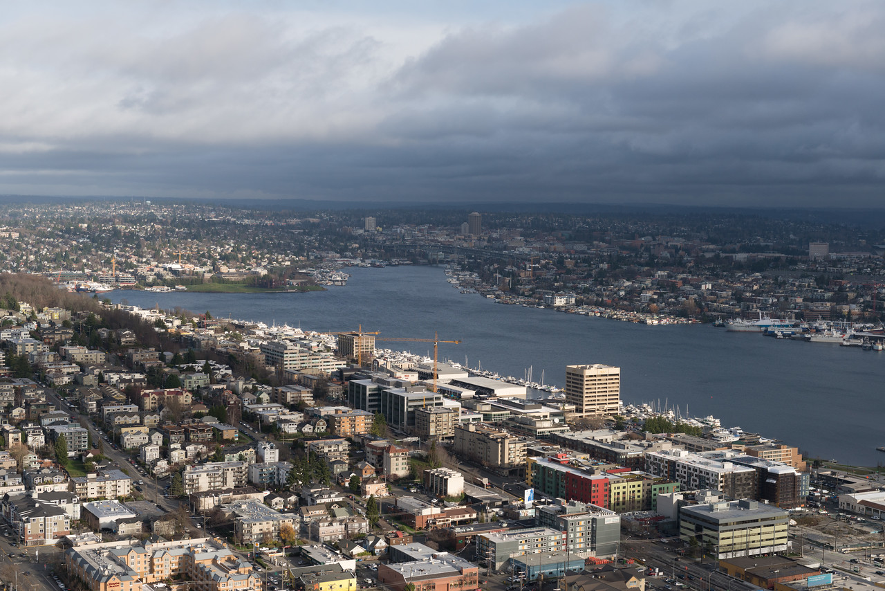 20141223.  View of Lake Union from the Space Needle, Seattle WA.