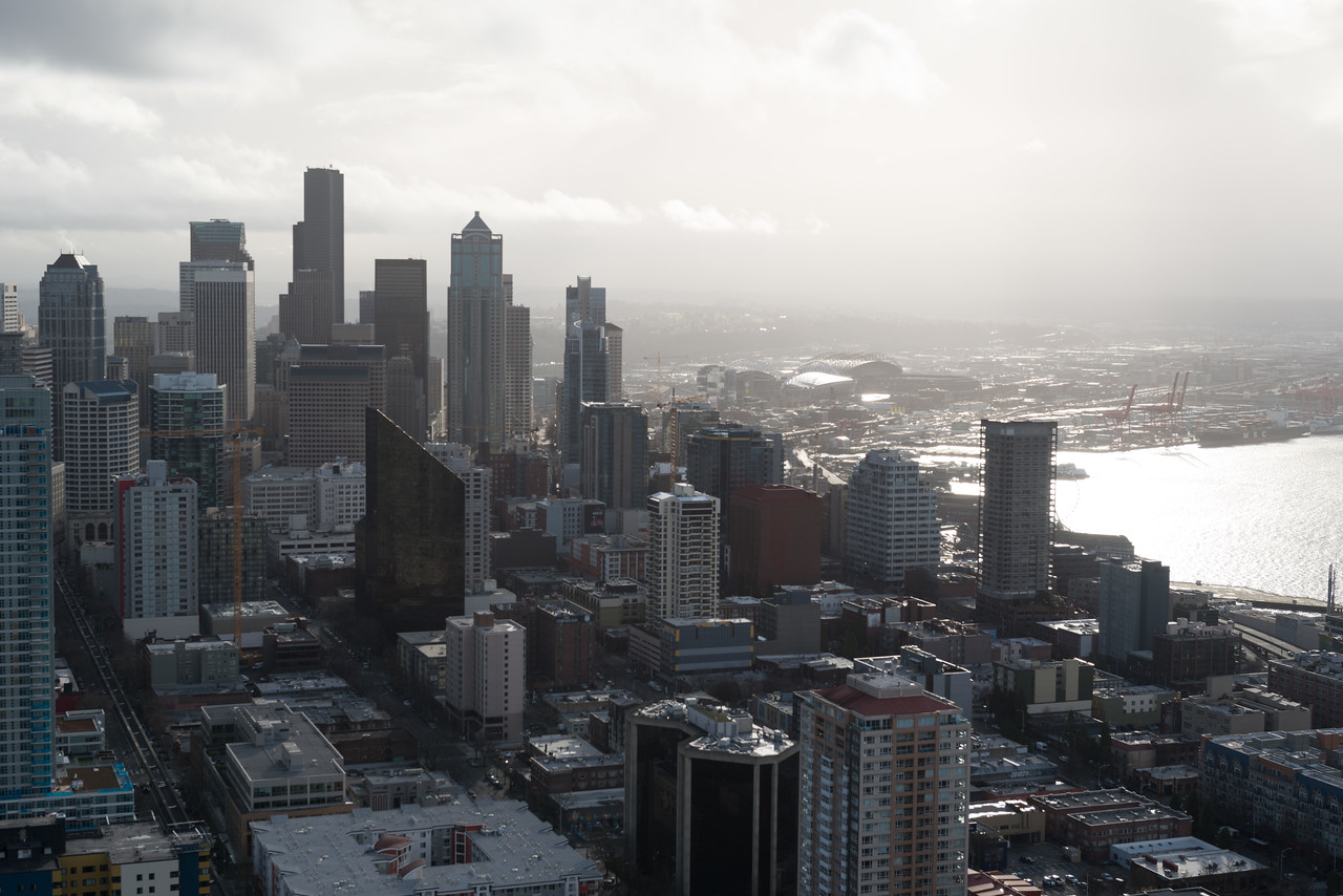 20141223.  View of downtown Seattle and Elliott Bay from the Space Needle, Seattle WA.