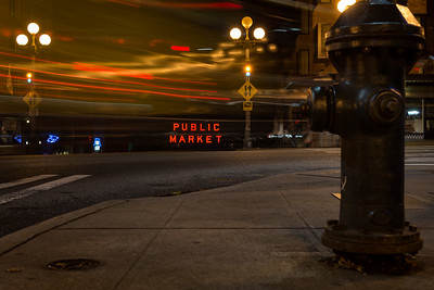 20161004.   Pike Place Market from Pine Street and 1st Avenue, Seattle WA.