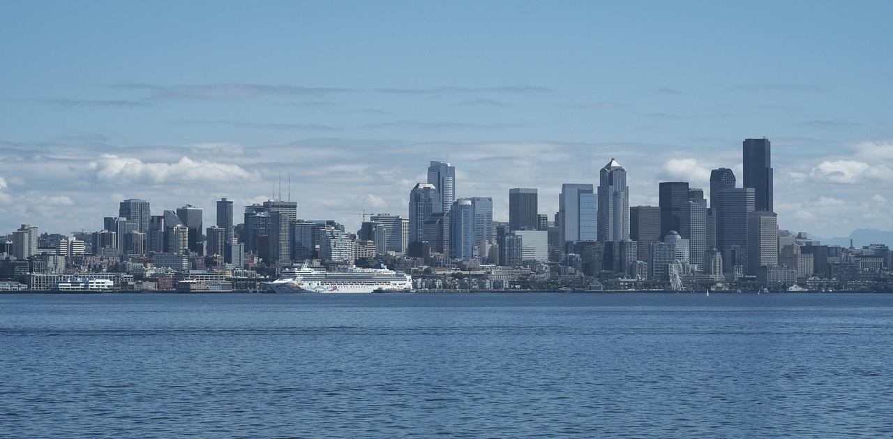 18 August 2013.  View of Seattle WA from Bainbridge Island Ferry.