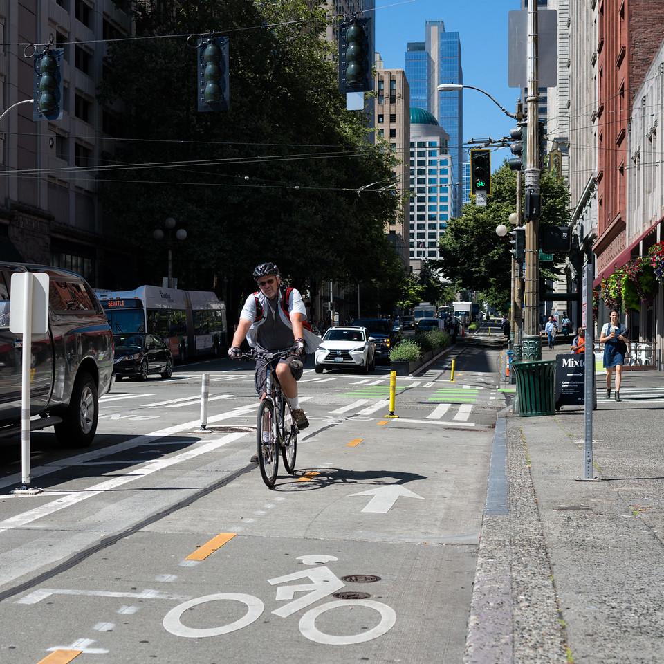 20160811.  Bike lane on 2nd Avenue, Seattle Wa.