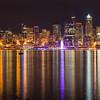 20160924.   View of downtown Seattle from Alki Trail along Elliott Bay, Seattle WA.