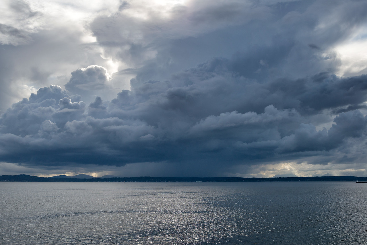 20160807.  Rainstorm over Puget Sound from 3rd Ave. W. pedestrian bridge, Seattle WA.