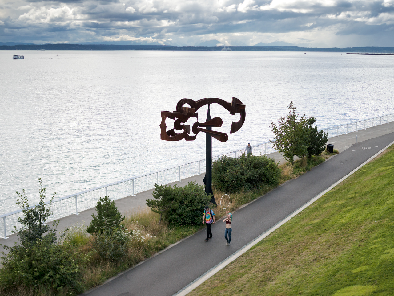 "20160807.  Puget Sound and ""Schubert Sonata"" sculpture in Olympic Sculpture Park, Seattle WA."