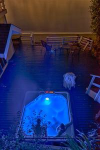 20150816.  Hot tub at home southwest of Dolphin Point, Vashon Island, WA.