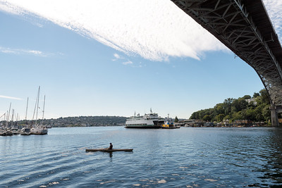 """20160725.  Ferry """"Sealth"""" passes under Aurora Avenue Bridge and into Lake Union (Seattle WA).  The Sealth is heading to a Lake Union drydock for maintenance."""